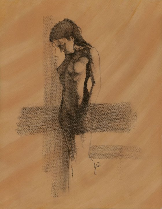 Female Nude Charcoal Drawing of Woman Standing Front View / realism