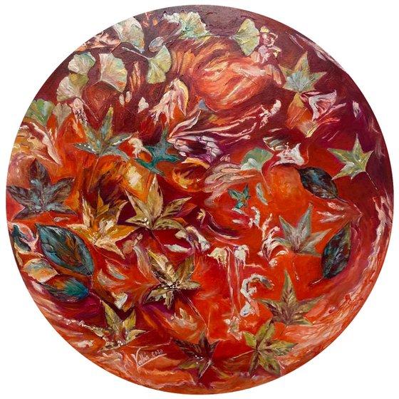 Envol de feuilles d'automne