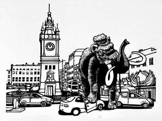 Margate Mammoth linocut print (single colour version)