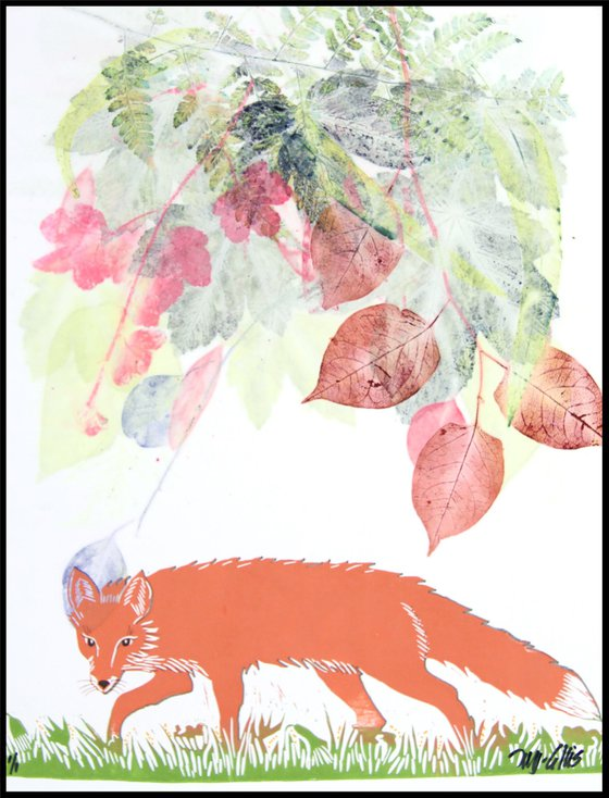 Fox in the Forest, linocut with mixed media