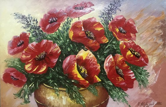Red poppies (40x60cm, oil painting, palette knife)
