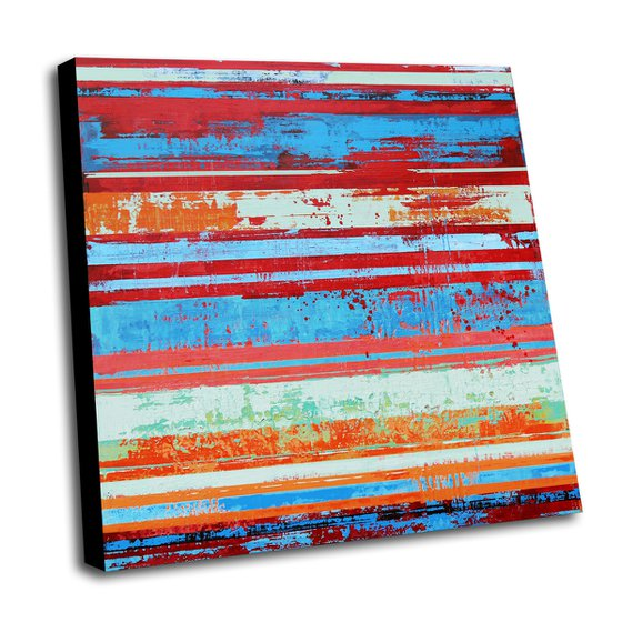 SOMMER AUF DEM LAND - 100 x 100 CMS - ABSTRACT ACRYLIC PAINTING ON CANVAS
