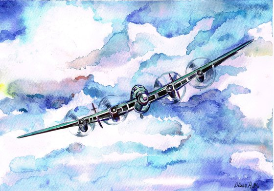 Lancaster Bomber ,AVIATION, AIRPLANE, ORIGINAL WATERCOLOUR PAINTING, NOT A PRINT , ORIGINAL