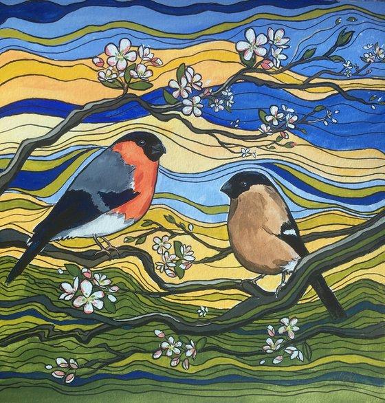 A Pair of Bullfinches