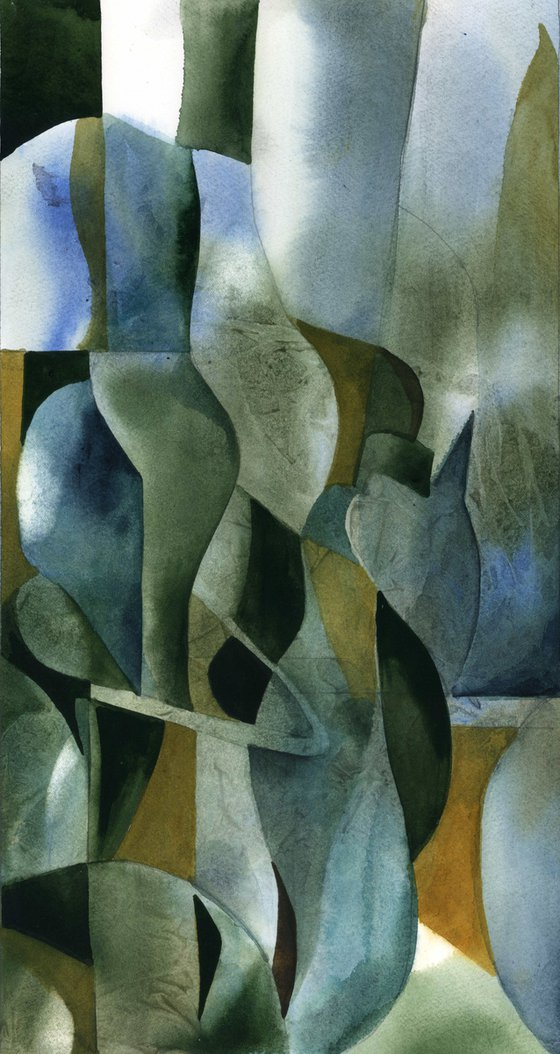 abstract composition of grey, blue and yellow