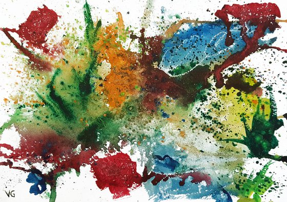 """""""Flower explosion""""  Abstract Watercolor Painting."""