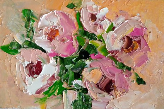 Peony Painting Original Art Pink Floral Small Artwork Bouquet Flower Wall Art