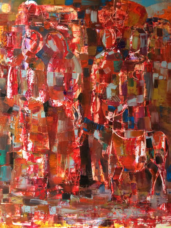 Rural motives(33x40.5cm, oil painting, paper)