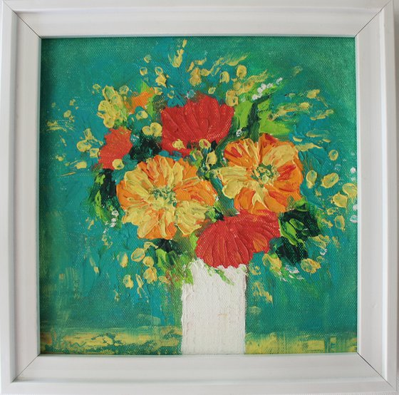 Flowers for you - Oils & Cold wax medium - rough textured painting on canvas board - Floral still life painting (2020)