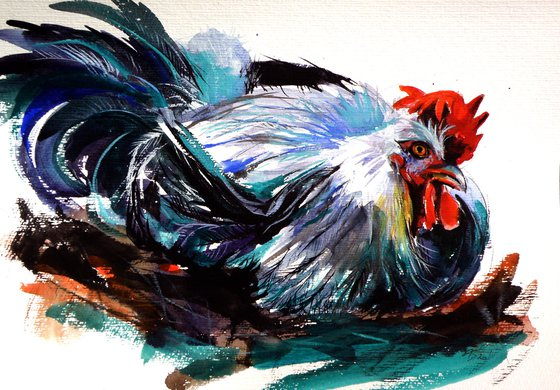 Resting rooster /25 x 35 cm/