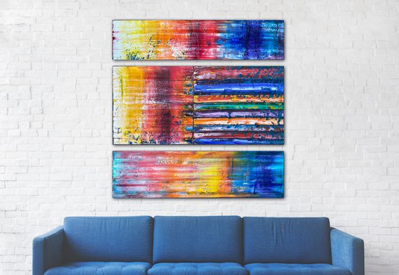 """""""Color Sandwich"""" - Original PMS Large Oil Painting Triptych on Recycled Wooden Panels - 48 x 46 inches"""