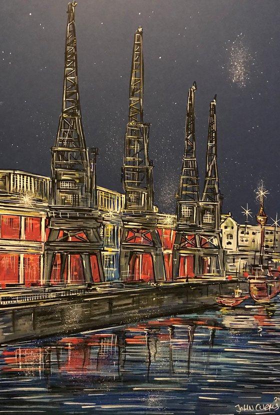 Bristol Cranes at night