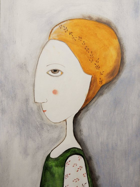 The woman in profile  - oil on paper