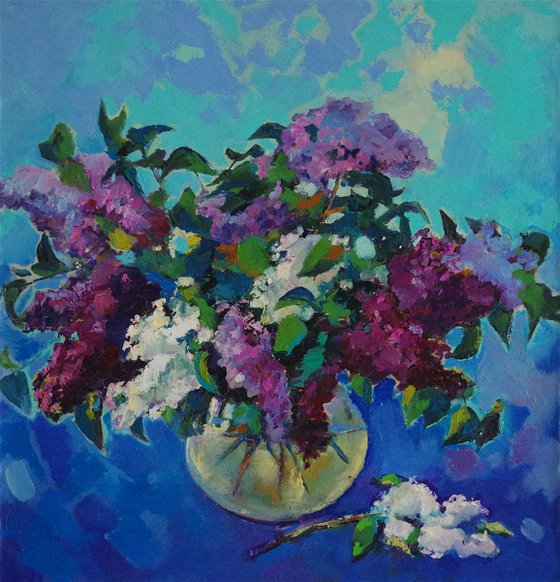Bouquet of Lilacs, Flowers Original oil Painting, Impressionism, Painting on canvas, Signed, One of a Kind