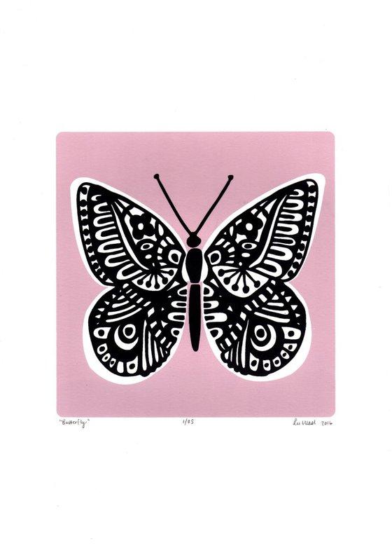 Butterfly in Powder Pink - Unframed - FREE Worldwide Delivery