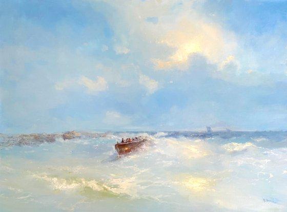 Cobalt Sky, Original oil Painting, Handmade artwork, Signed, One of a Kind