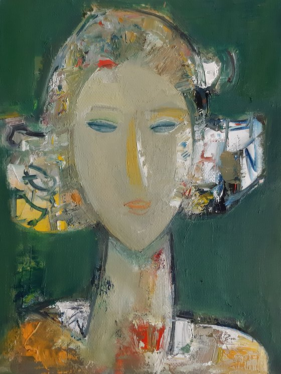 Portrait  (20x26cm ,oil/canvas, ready to hang)