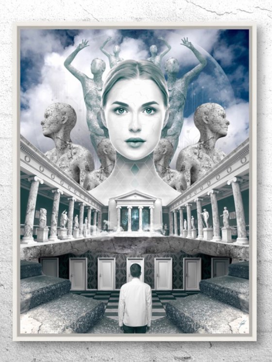 THE SEVEN DOORS   Digital Painting printed on Alu-Dibond with White wood frame   Unique Artwork   2019   Simone Morana Cyla   64 x 85 cm   Art Gallery Quality   Published