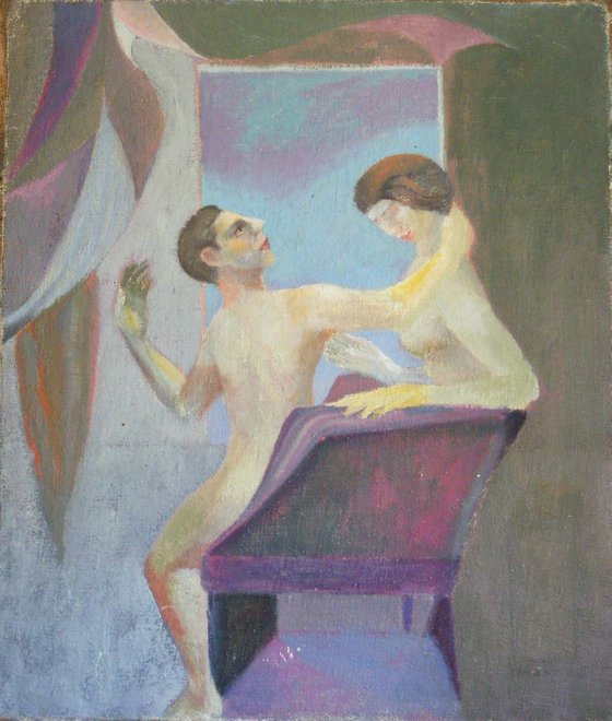 Couple in armchair