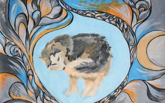 Husky bites its tail