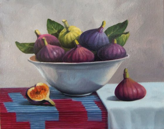 Still life with fig-2 (24x30cm, oil painting, ready to hang)
