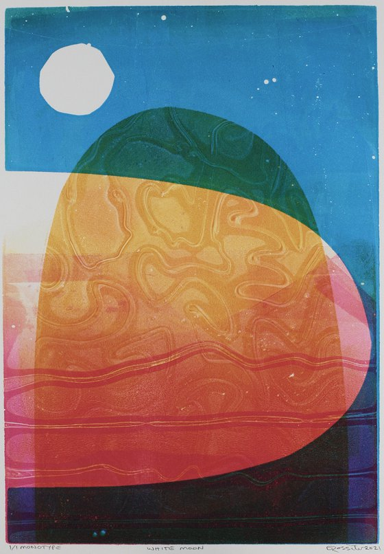 White Moon - Unmounted Signed Monotype