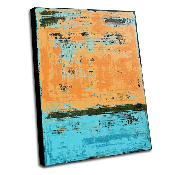 SUN & SKY - 110 X 80 CMS - ABSTRACT ACRYLIC PAINTING TEXTURED * PASTEL COLORS