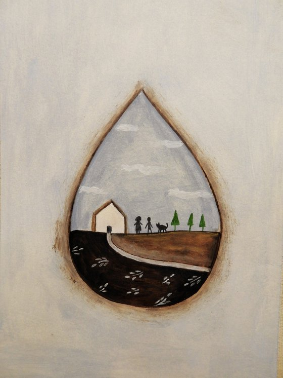The house inside the raindrop 3 - oil on paper
