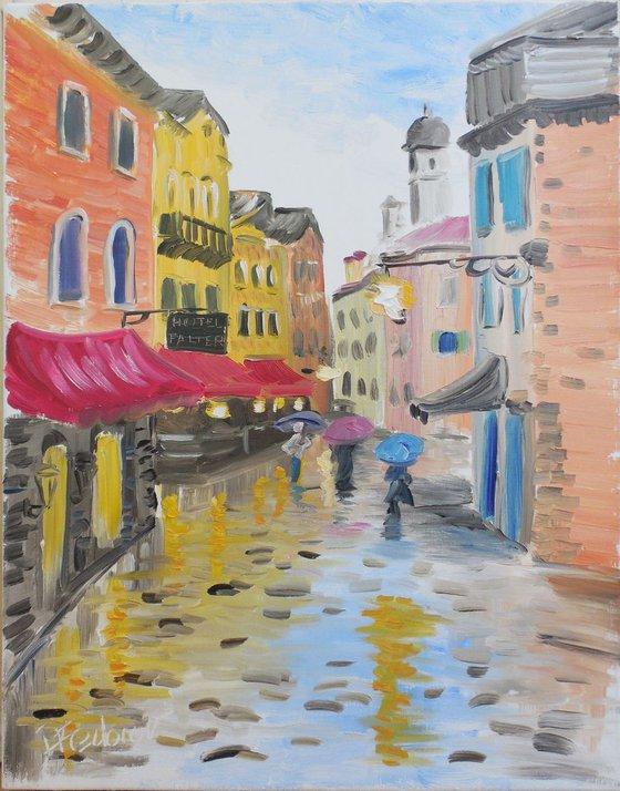 Venetian street and rain