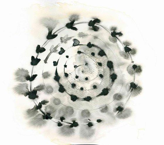 Abstract Mandala Painting B&W