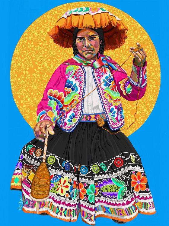 Weaver woman / Mujer hilandera