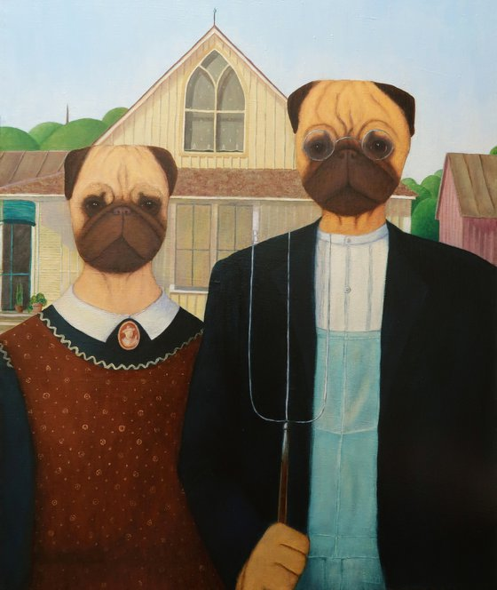 Pugmerican Gothic (inspired by Grant Wood)
