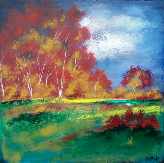 Blood Red and Ochre Trees