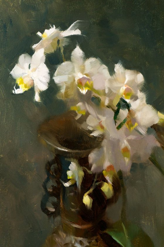 'Orchids and Bronze Vase' - original oil painting, alla prima oil painting, one of a kind