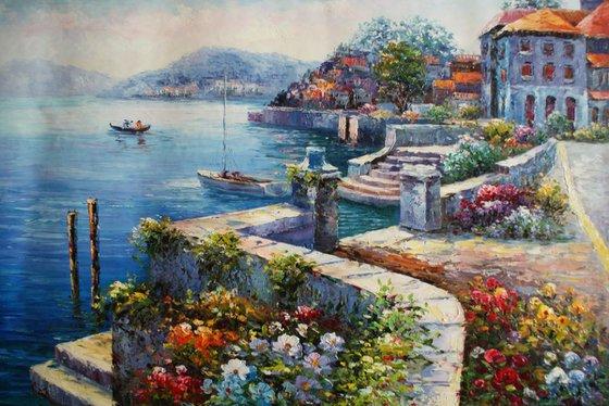 """""""Mediterranean plein air"""" Oil / canvas. Size 60x90 cm."""