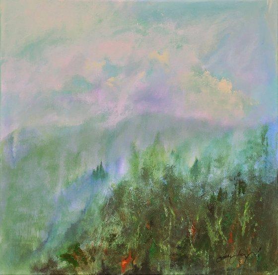 Early Light 2 - Acrylic painting, 50 x 50cm