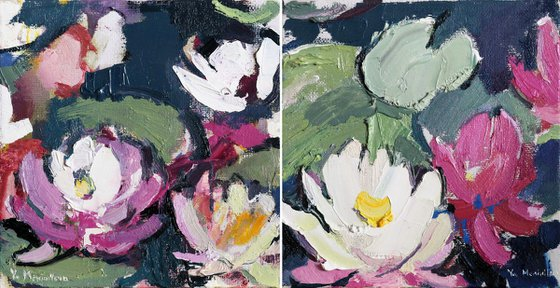 Water lilies. Original oil painting. Christmas gift