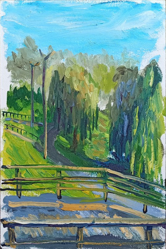 Weeping willows in the park. Pleinair painting