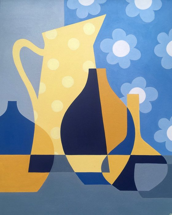 Yellow Spot Jug with Blue Daisies