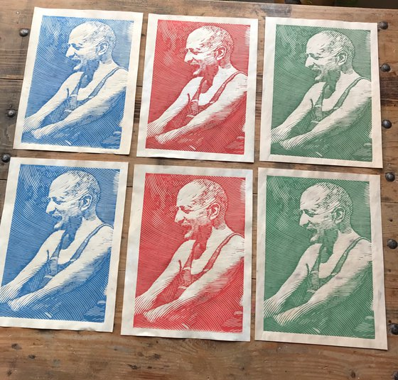 Sunbath - set of 3 prints, red, blue and green