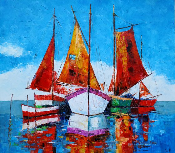 Boats-2 (70x80cm, oil painting)