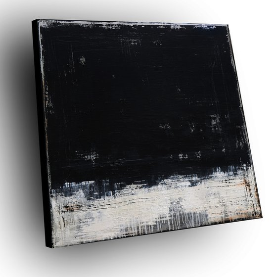 DARK MATTER - 120 X 120 CMS - ABSTRACT ACRYLIC PAINTING TEXTURED * ANTHRACITE * WHITE