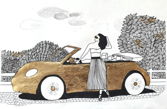 Golden cabriolet