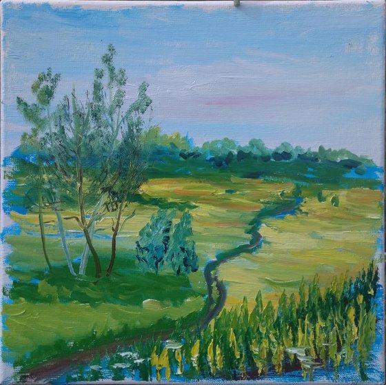 A trail through the meadow. Pleinair painting