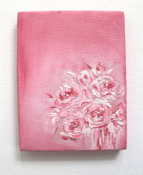 Cute floral pink roses vase - Still life oil painting on mini canvas - with easel - palette knife work for the roses
