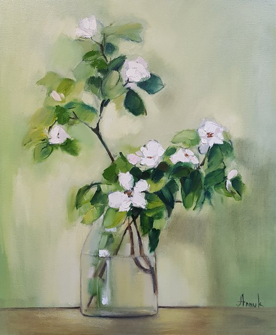 White flower (50x60cm, oil painting, ready to hang)