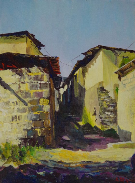 Village Original oil Painting, Realism, Handmade paintingSigned, One of a Kind
