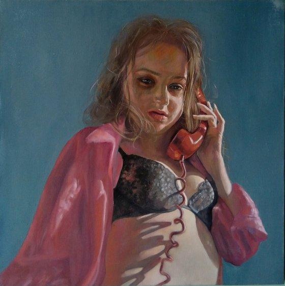 Call (52x52cm, oil/canvas, impressionistic figure)