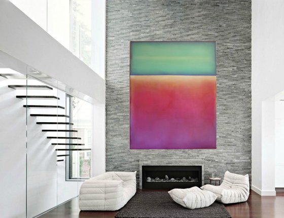 I got lost in the wilderness of your arms , I arrived on the doorstep of my soul... / Modern Minimal Large Abstract 48x60 inches oil on canvas