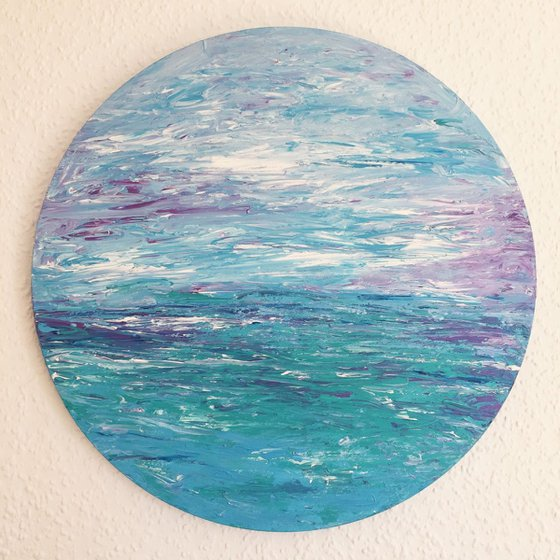 Peace (Impressionsitic Seascape or Abstract Art) Ready to hang on a circular deep edge canvas